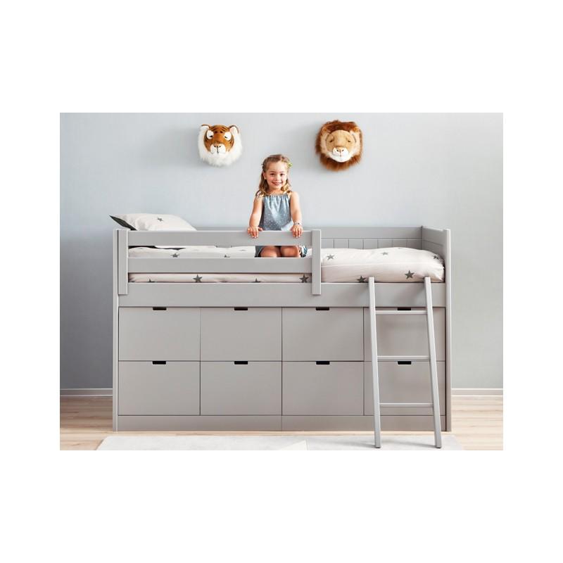 Dormitorio infantil en tono neutro con cama block - Julia descans ...